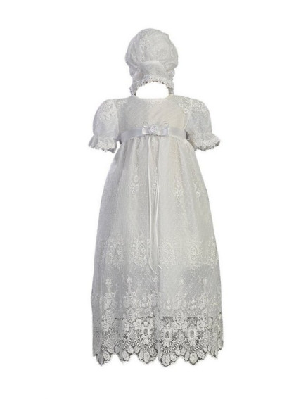 2016 New High Quality Baby Infant Christening Dress Baptism Gown Girl Boy Todder Lace Applique WITH BONNET 0 3 6 9 12 18 24month
