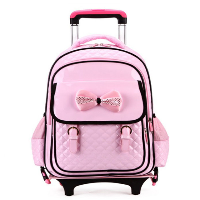 PU Orthopedic Girls Trolley School Bags Lovely Pink Children ...