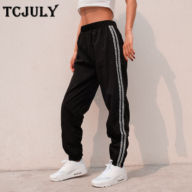 f14daff2aea85 TCJULY New Style Loose Casual Harem Pants Women Side Two Lines Patchwork  Letter