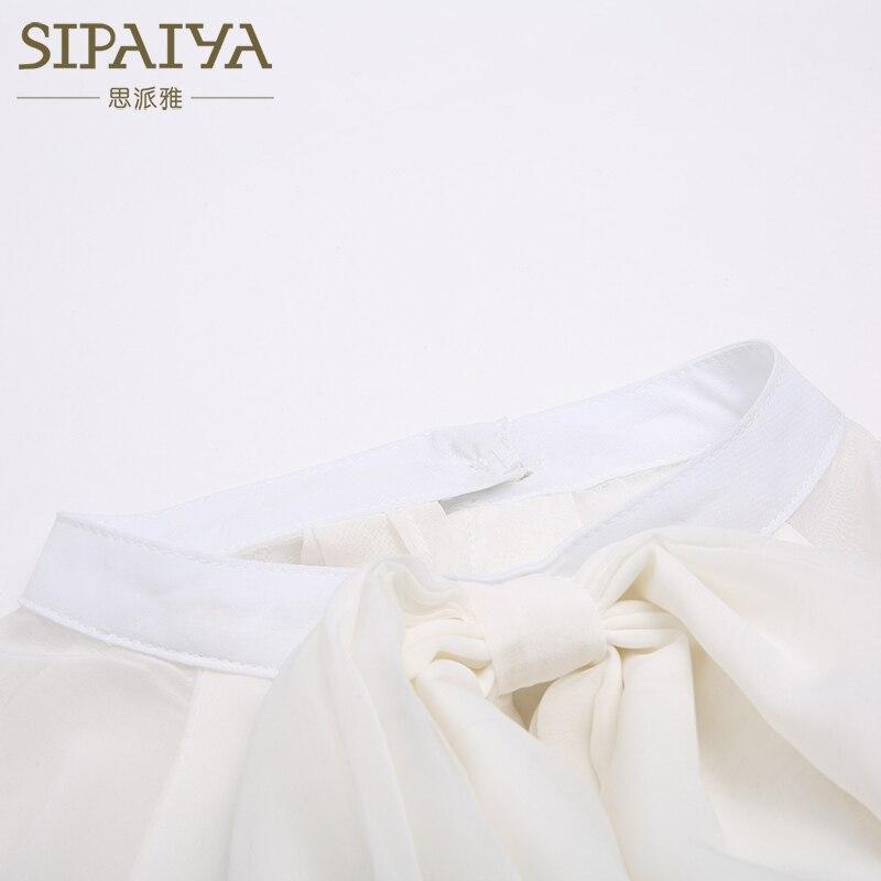 Cou Travail Noir Blusas Shirt Sipaiya Tops Mousseline Porter Casual Au blanc Chemisier En Bureau 2018 Blanc Femmes Noir Femininas Blouse Arc D'été ZYgAwqf
