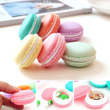 1 Pcs Portable Mini Macaron Storage Box Macaroon Carrying Pouch Earphone SD Card jewelry Pocket Container Case Cute 4.2X2CM