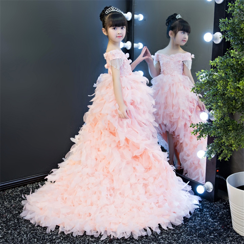 Luxury Fashion Children Girls Flowers Princess Party Dress With Long Feather Trailing Kids Elegant Pink Birthday Wedding Dress high quality wedding dress doll 45cm 55cm beautiful elegant pink feather dhl or fedex page 3