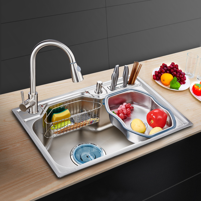 Multi - functional nano kitchen 304 stainless steel sink large single-slot tool holder dish washing pool thickening wx4181026