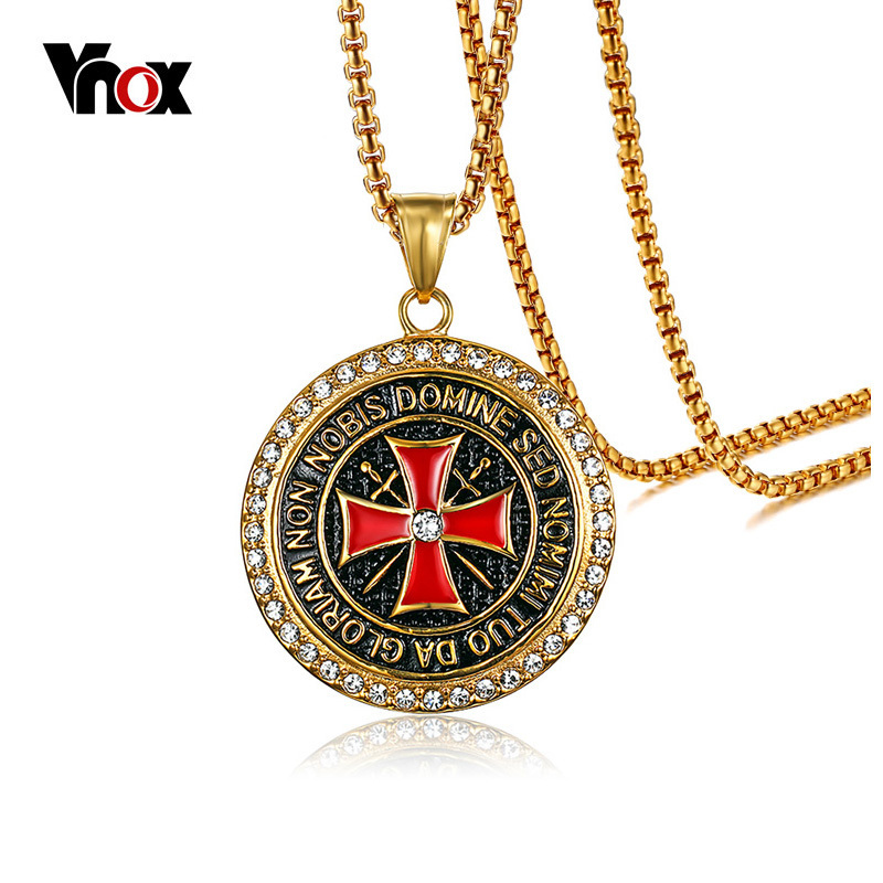 Aliexpress buy vnox maltese cross pendant necklace for men aliexpress buy vnox maltese cross pendant necklace for men gold color stainless steel free chain 24 long religious necklace male jewelry from aloadofball Image collections