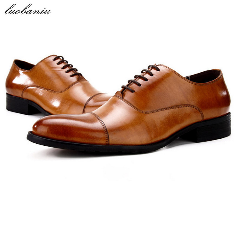 Genuine Leather Oxfords Shoes For Men Dress Shoes Top Quality Men Shoes Formal top quality crocodile grain black oxfords mens dress shoes genuine leather business shoes mens formal wedding shoes