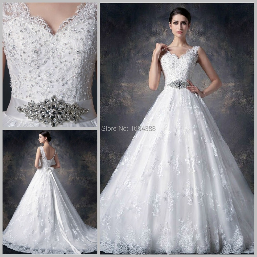 2015 Real Photo White Ball Gown Wedding Dress Lace Crystal Elegant V ...