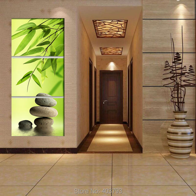 Zen Garden Bamboo Modern Wall Art WIth Clock Canvas Print 3 Panel Set FRAMED