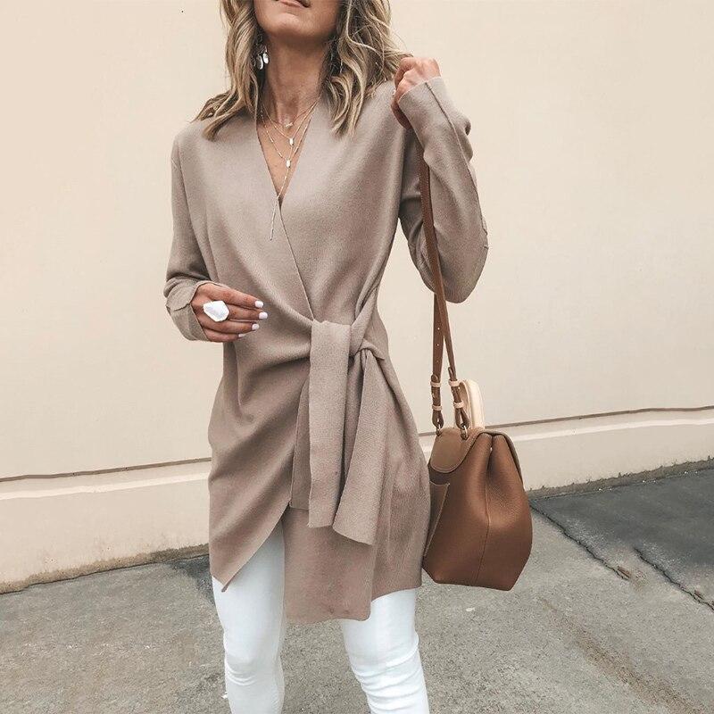 Spring New Fashion Women Cardigan Long Sleeve 2020 Autumn V-Neck Belt Solid Slim Tops Female Casual Elegant Outwear