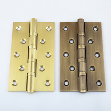 High Quality 4PCS Brass Furniture Hinges Wooden Cupboard Wardrobe Cabinet Door Hinges+Screws 4Inch/5Inch/6Inch