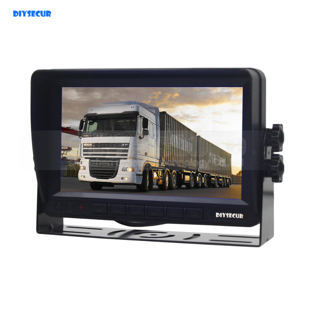 DIYSECUR AHD 7inch TFT LCD Car Monitor Rear View Monitor Support 2000000 Pixels AHD Camera diysecur 4pin dc12v 24v 7 inch 4 split quad lcd screen display rear view video security monitor for car truck bus cctv camera