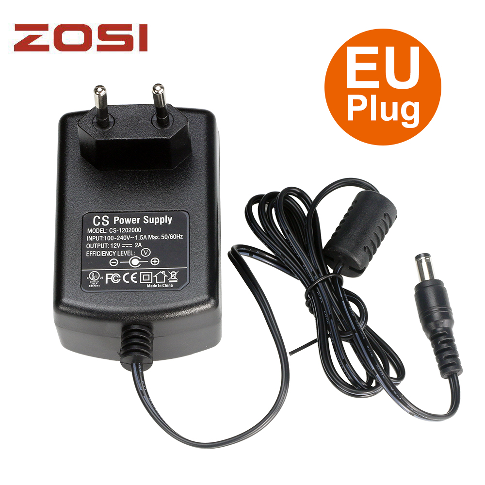 ZOSI AC AU EU UK optional Plug AC 100-240V to DC 12V 2A Power Adapter Supply Charger For LED Strips Light Free Shipping autoeye cctv camera power adapter dc12v 1a 2a 3a 5a ahd camera power supply eu us uk au plug