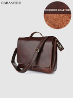 CARANFIER Mens Briefcase Crazy Horse Genuine Cowhide Leather Computer Notebook Business Fashion Large Capacity Messenger Bags