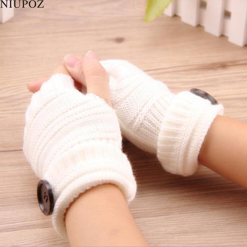 Women Winter Fingerless Gloves Knitted With Buttons Half Finger Glove Soft Warm Women Female Gloves Mittens Guantes G208