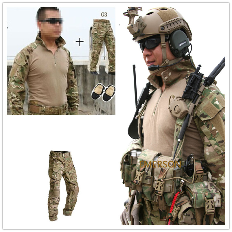 2017NEW Emerson bdu G3 uniforme camisa y pantalones y rodilleras Airsoft Combat Military Army MultiCam Suit CP MC Multi-cam