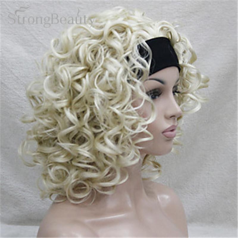 strongbeauty коротких синтетических для женщин блондин/коричневые вьющиеся парики 3/4 половина парик с повязкой на голову для леди африки amrican черный для женщин