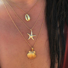 Statement Natural Shell Starfish Necklace Gold Color Beads Long Chain Multi Layered Necklace Pendant Personalized Women Choker attractive solid color pendant multi layered women s necklace