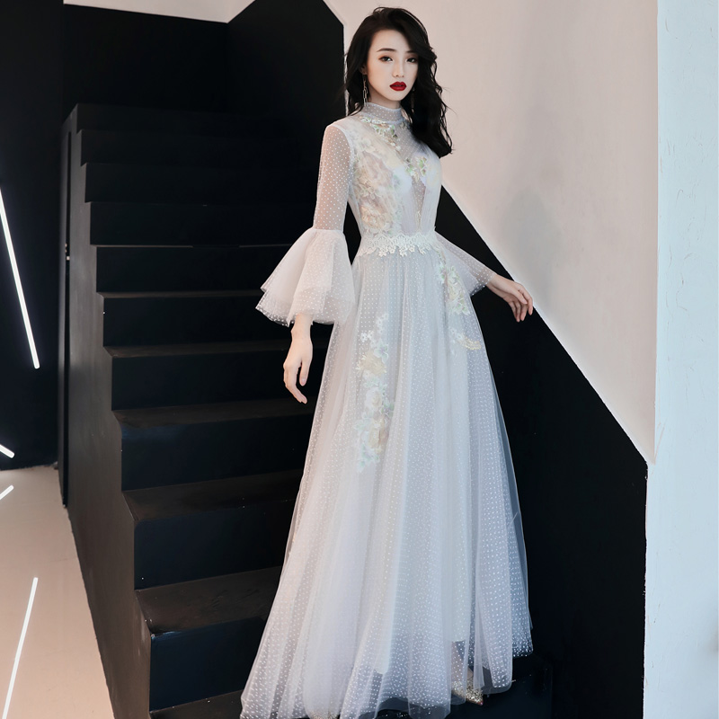 Lace White   evening     dress   2019 Long new homecoming gown elegant prom   dress   train illusion tulle formal   dress   vestido de noiva
