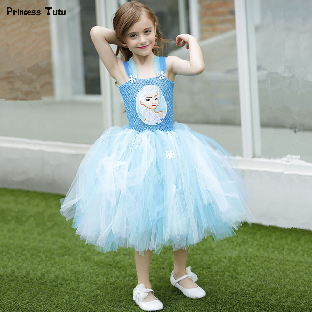 Princess Girls Elsa Tutu Dress Blue Snow Flake Tulle Girl Birthday Party Dress Children Kids Halloween Christmas Dress Costume children girl tutu dress super hero girl halloween costume kids summer tutu dress party photography girl clothing