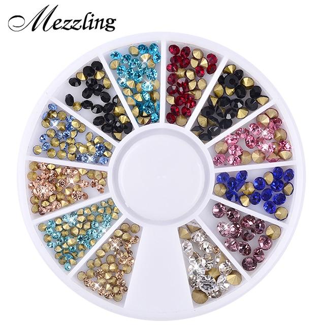 Mezzling Mixed Glitter Nail Art Wheels Sharp End Crystal Colorful ...