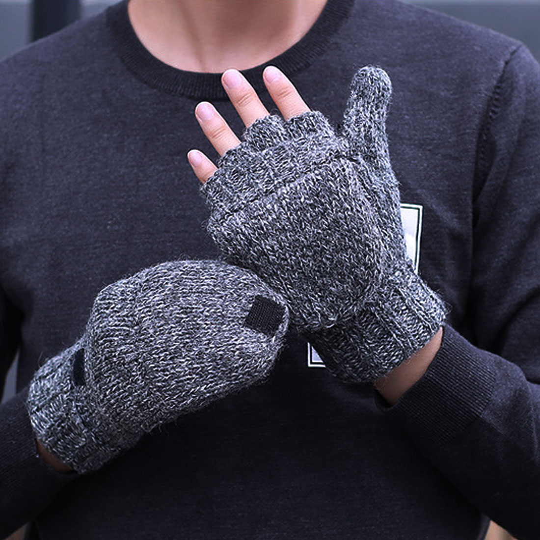 Charming Thick Male Fingerless Gloves Men Wool Winter Warm Exposed Finger Mittens Knitted Flip Half Finger Gloves