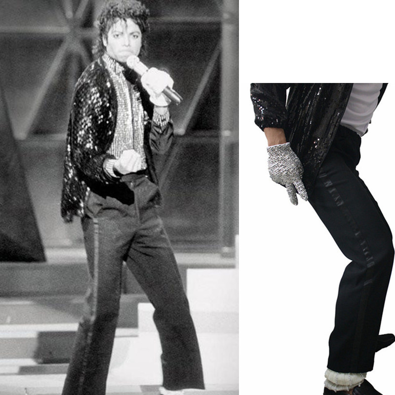 MJ Michael Jackson Black Billie Jean Entertainers Black Straight Trousers Casual Cropped Jeans  Elasticity Ankle-Length Pants