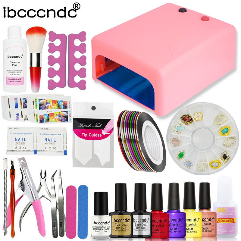 Ibcccndc Nail Gel Set Nail Art Kit 36W UV Lamp Nail Gel Polish Varnishes Top Base Coat Manicure Tools Kit with Remover Stickers nail gel polish tools pro 36w uv lamp 4 colors gel varnishes base and top coat nail art kits manicure set with polish remover