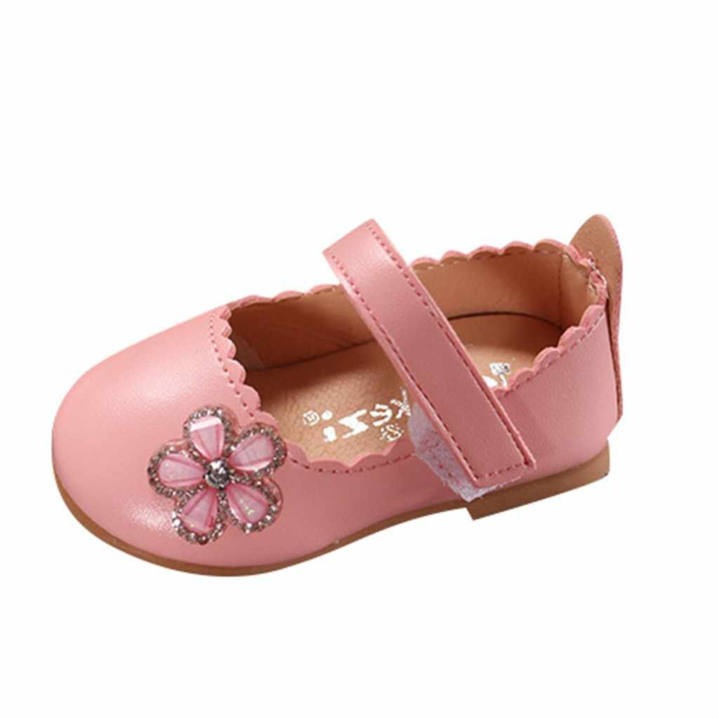 Infant Kids Baby Girls Elegant Crystal Flower Single Princess Casual Shoes