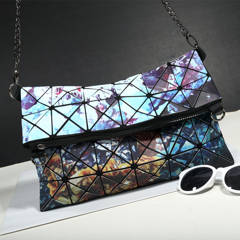 Designer Women Chain Sling Shoulder Bags Girls Star Printing Fold Over Handbag Geometric Bag Casual Clutch Messenger Bag Closure lacattura luxury handbag chain shoulder bags small clutch designer women leather crossbody bag girls messenger retro saddle bag