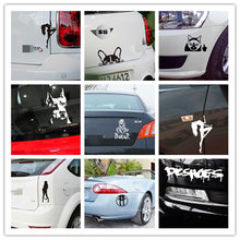 Cool 1 Pcs Funny Car Sticker Cat Dog Sexy Girl Booty Call Reflective Vinyl Car Sticker Decal Wholesale|2019 New Car Sticker cool wing style reflective car sticker yellow
