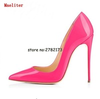 Pointed Toe Stiletto Lady High Heels Pumps Patent Leather Woman Party Dress Shoes Slip On Office