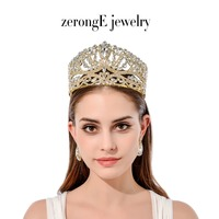 Luxury Large Wedding Pageant gold Tiara crown with earring matching Crystal Bridal pageant Crown and tiaras for women