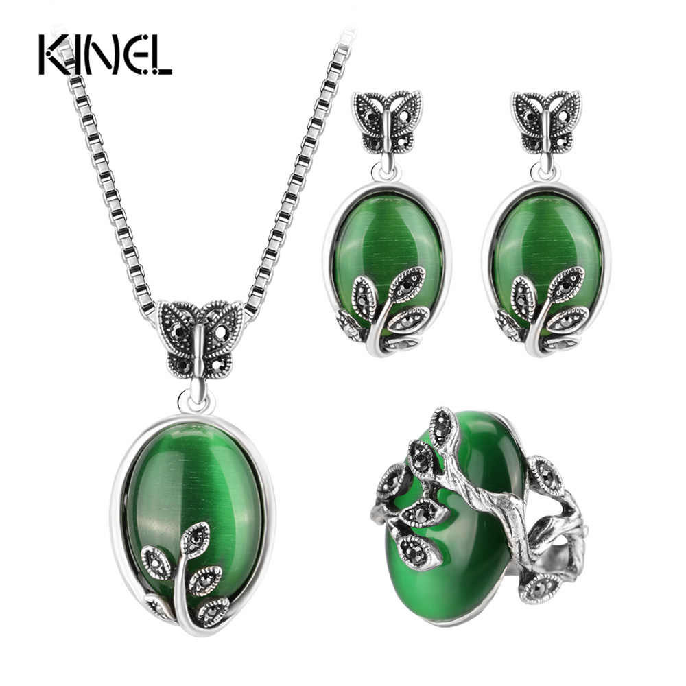 Kinel Natural Green Opal Vintage Jewelry Sets Antique Silver Color Big Rings Earring Pendant Necklace For Women 2017 New