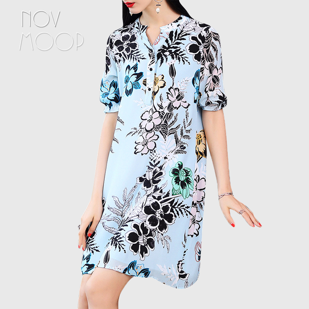 Vintage blue floral print summer natural silk dress V-Neck short sleeve mini A-Line dresses vestidos robe femme jurken LT2015 round neck ladies sweater dresses cotton knitted 2018 summer womens mini dresses long sleeve party dress robe longue femme q1