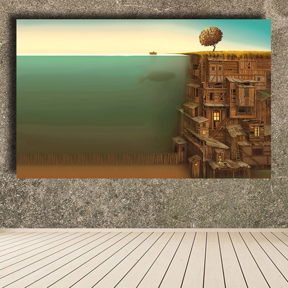 QKART Trees Wood Fish Surrealism Artwork Underwater Oil Painting Canvas Print Wall Pictures for Living Room posters and prints
