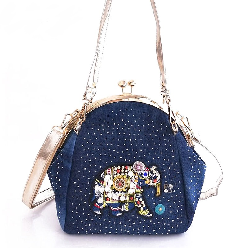 Denim Jeans Women Shoulder HandBags Bags Vintage Fashion Frame Shine Rhinestone Elephant Evening Totes Female Messenger Purse