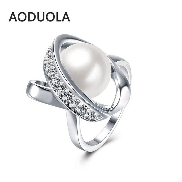 b0b7d080d980 Chapado en plata delicado sentimientos dedo anillo con perla blanca y claro  CZ Original anillo de