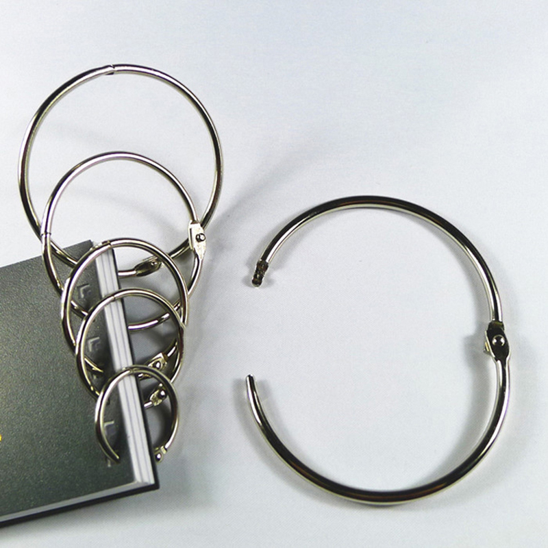 10Pcs/Lot 20-80mm Metal Loose Leaf Book Binder Hinged Rings Keychain Album Ring Scrapbook Binders Craft Photo Album Circle Clips