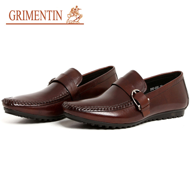 63aea375da83 GRIMENTIN Fashion Designer Men loafers Genuine Leather Men Casual Shoes UK  Style Luxury Male Shoes Flats 2018 Size 6-10.5 5A65