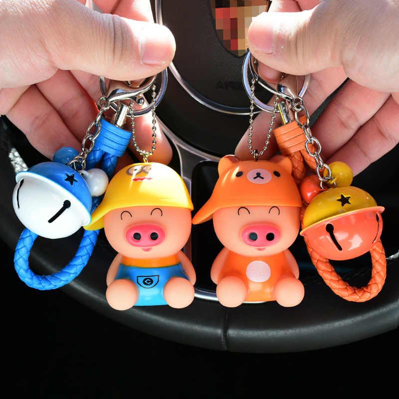 Animal dos desenhos animados Porco Bonito Chaveiro Coelho Pele Pom Pom Chave Cadeias Anel Chave Mulheres Carro Brinquedos Do Miúdo Pingente Presente Bugigangas porte Clef