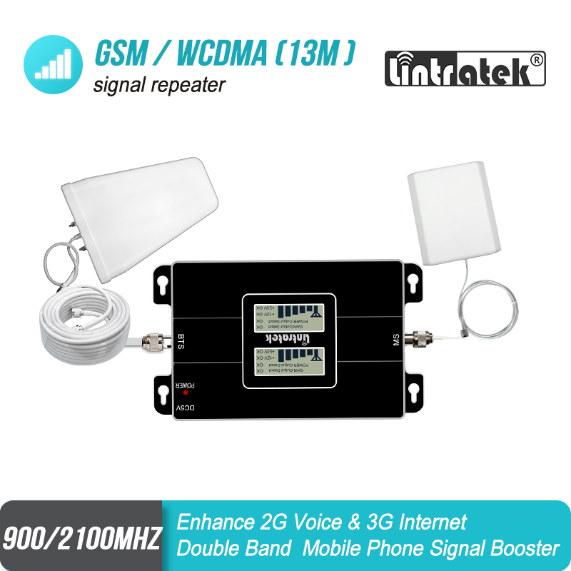 LCD Display GSM 900 W CDMA 2100mhz Dual Band Signal Repeater 2G 3G UMTS 65dB Cellphone Cellular Signal Booster Amplifier Set 6J1
