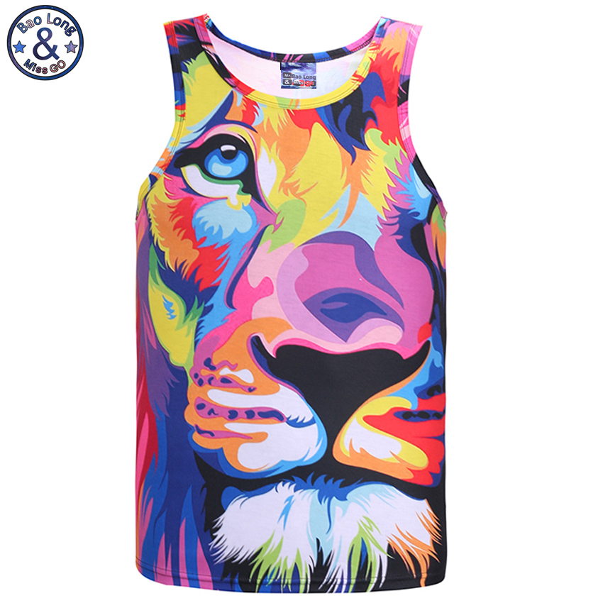 Mr.BaoLong Impression style men 3d vest printing watercolor lion animals summer cool slim   tank     tops   youth fashion Asia size DB9