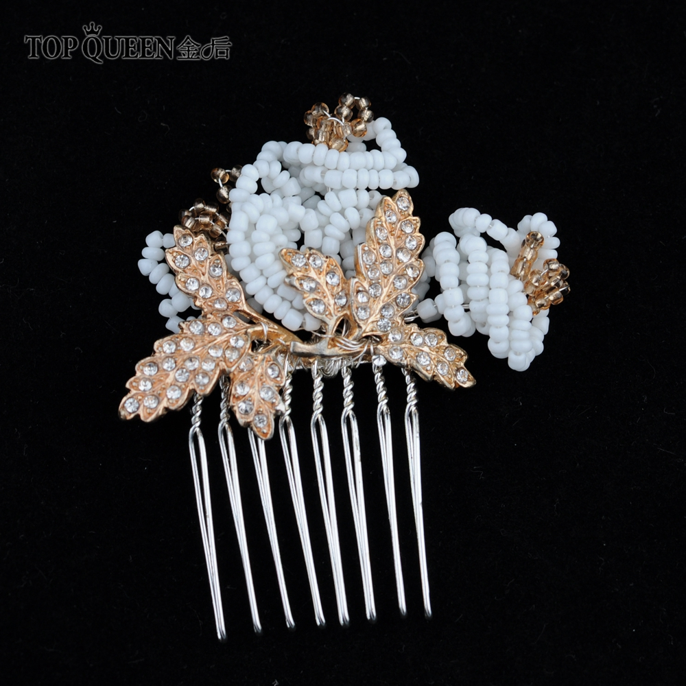 TOPQUEEN HP169 Golden Bridal Wedding Comb Metal Hair Wedding Comb Wedding Hair Accessories Bridal Hair Clip Wedding Hairpiece