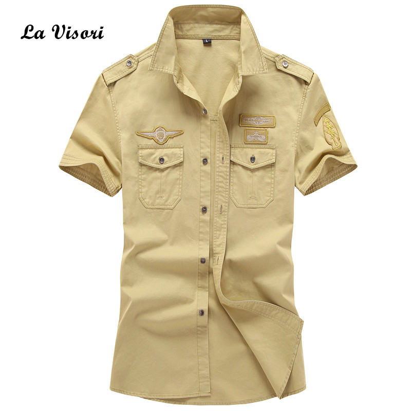 Summer Men dress shirts Short Sleeve Military Shirts Cotton army badge decorate Casual tees Size plus oxford shirt