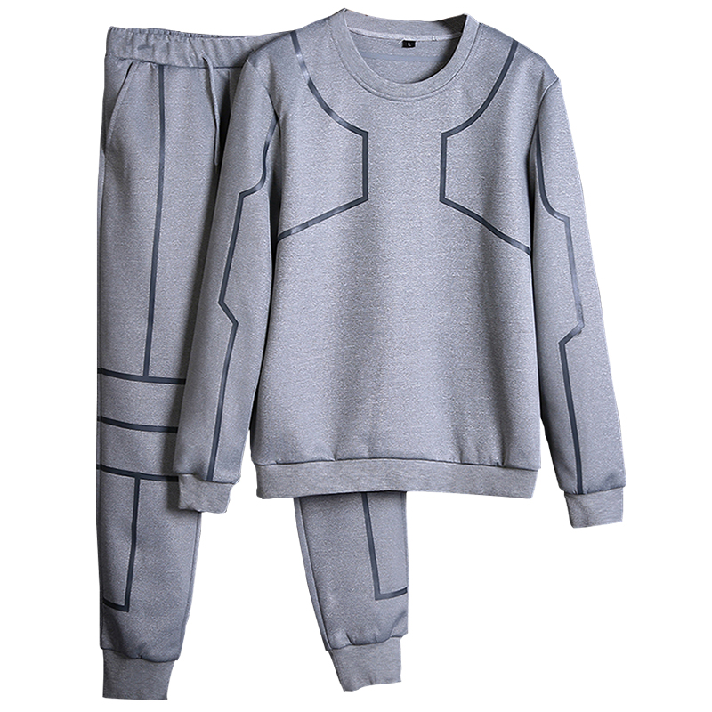 Men Sportswear Sets O-neck Tracksuit Sweatshirt With Joggers Pants Letter Casual 2 Pieces Sets Men Patchwork Spring Hoodie #4