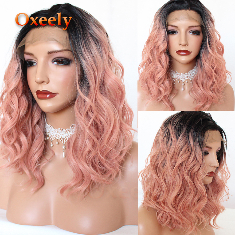 Oxeely Ombre Rose Pink Bob Wavy Hair Synthetic Lace Front Wigs Short Wave Lace Front Wig