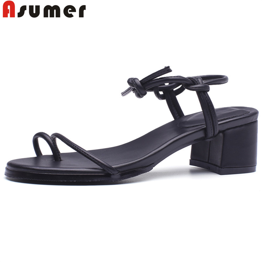 ASUMER black apricot fashion summer 2018 new shoes woman square heel sandals women genuine leather shoes elegant high high heels msfair women square toe wedges sandals fashion butterfly crystal high heels woman sandals 2018 new summer women high heel shoes