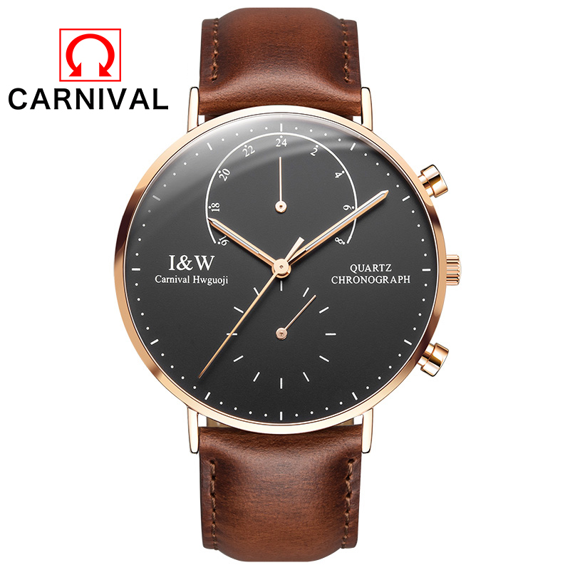 2017 New CARNIVAL Top Brand Luxury Quartz watch Casual men Black quartz-watch Simple Leather strap ultra thin clock male Relojes burei top brand creative quartz watch men luxury casual black japan quartz watch simple designer fashion strap clock male new