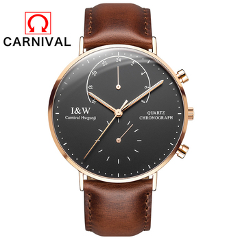 2017 New CARNIVAL Top Brand Luxury Quartz watch Casual men Black quartz-watch Simple Leather strap ultra thin clock male Relojes