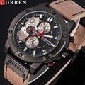 Спортивные мужские часы CURREN  кварцевые часы с кожаным ремешком