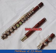 ALTO Flute-Silver Plated-ROSE WOOD-G Key professional concert flute gold plated woodwind instruments flute 16 hole c key student small elbow silvering flute